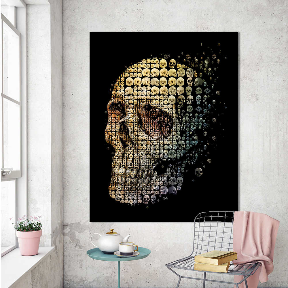 HDARTISAN Canvas Art Wall Pictures For Living Room Surrealism Painting Skull evolution Home Decor Printed No Frame