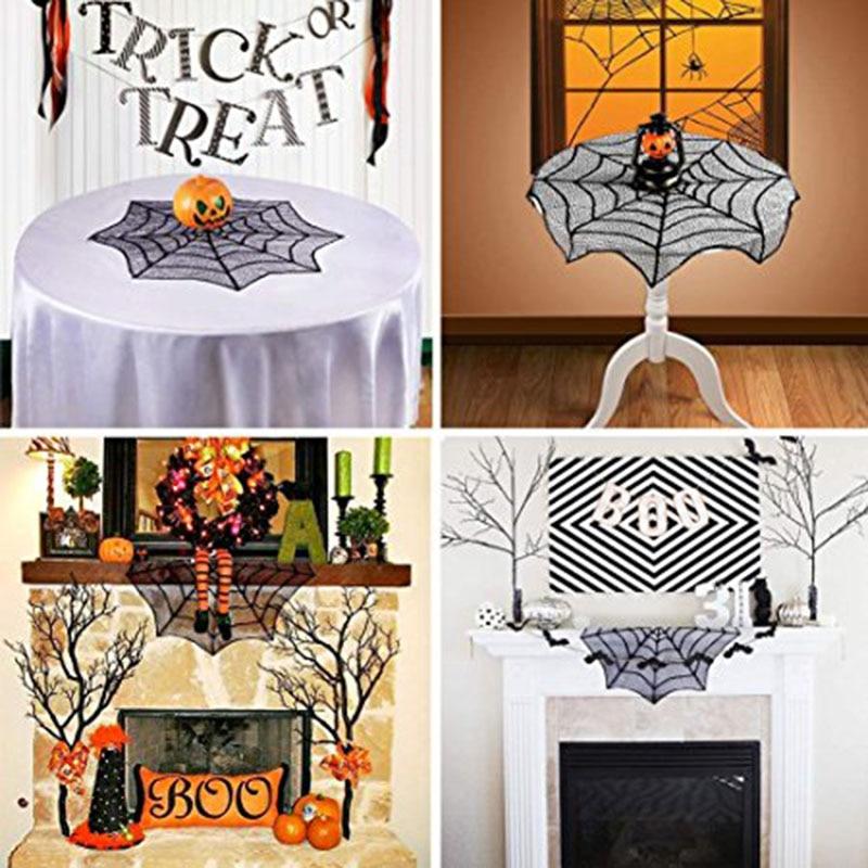 2019 Mode 30 Inch Halloween Party Home Decoratieve Tafelkleed Halloween Tafelkleed Zwart Spinnenweb Kant Mantel Achtergrond Decorati Fp8