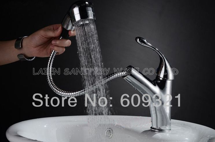 Superfaucet Pull-Out Faucet Shower,Pull Out UP&Down With Sprayer Kitchen Sink Mixer Tap Chrome,Kitchen Basin Faucet HG-1207DC