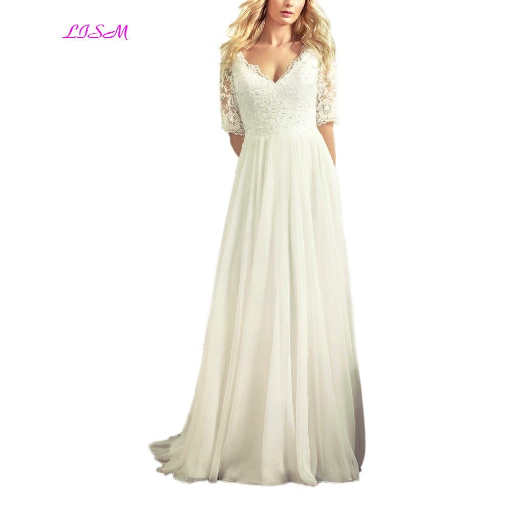 V-Neck Lace Chiffon Wedding Dress Half Sleeves Long Bridal Gowns Modest A-Line Appliques Wedding Dresses vestidos de novia 2019