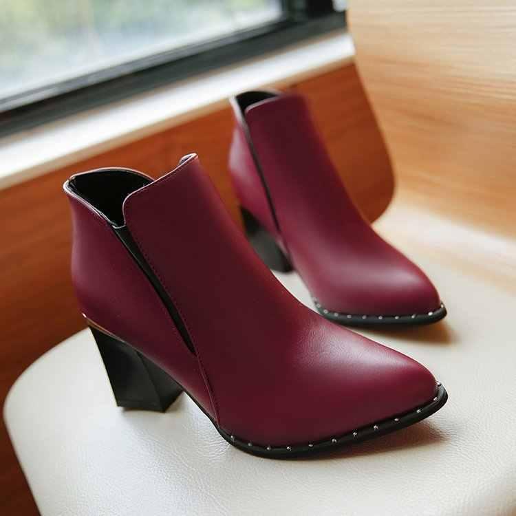 Avrupa tarzı sözleşmeli Gelgit Kız Çizmeler Kadın İngiliz Tarzı Perçin Çizmeler Martin Çizmeler Sonbahar Kış 2019 Yeni Yüksek topuklu ayakkabılar