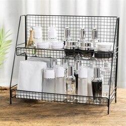 Casa Duplo Camadas de Metal Rack Cozinha Quarto Organizador da Mesa Tempero Jar Prateleira De Armazenamento Dormitório Estudantil