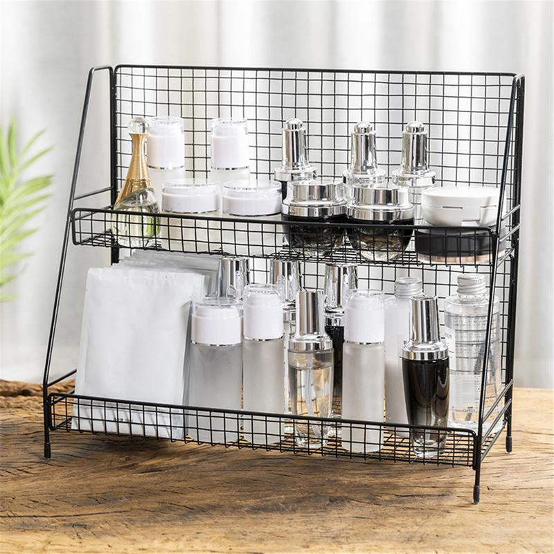Home Double Layers Rack Metal Kitchen Bedroom Desk Organizer Seasoning Jar Student Dormitory Storage Shelf