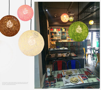 modern Colorful Ma Rattan Wicker Ball Pendant Light For Christmas Xmas decoration Party dining room bar E27 hanging lighting