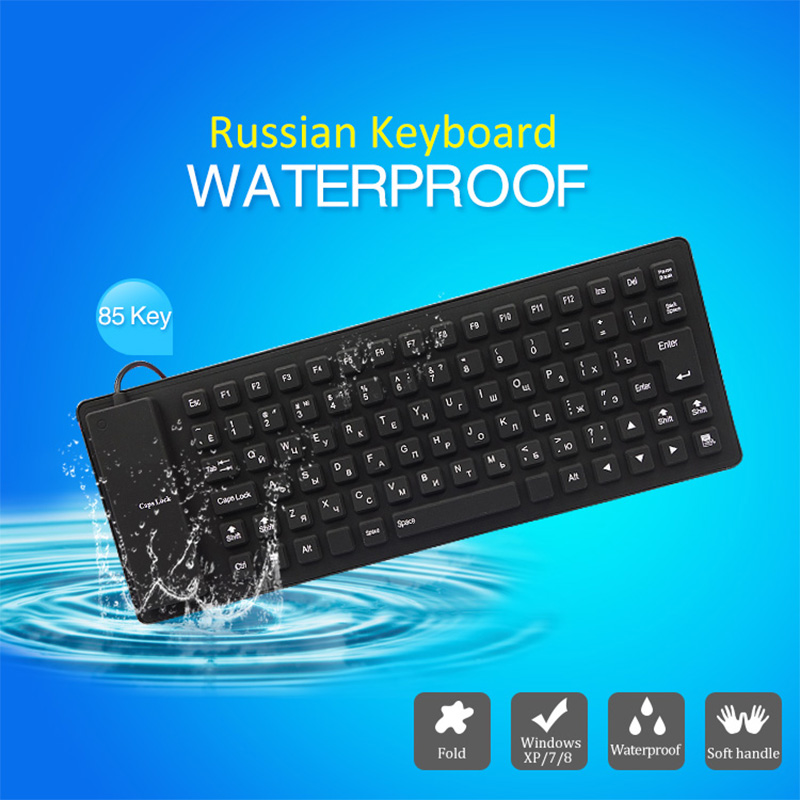85keys Russian Version Letters Wire USB Interface Silicon Keyboard Russian Layout Teclado Waterproof for PC Laptop