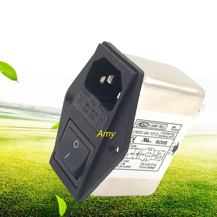 Power EMI filter CW2C 6A 10A T bipolar F2 socket single-phase AC 220V