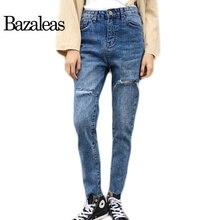 Bazaleas 2017 Весна осень женщины Джинсы ноги отверстия мода Женские Голубые Случайные Штаны