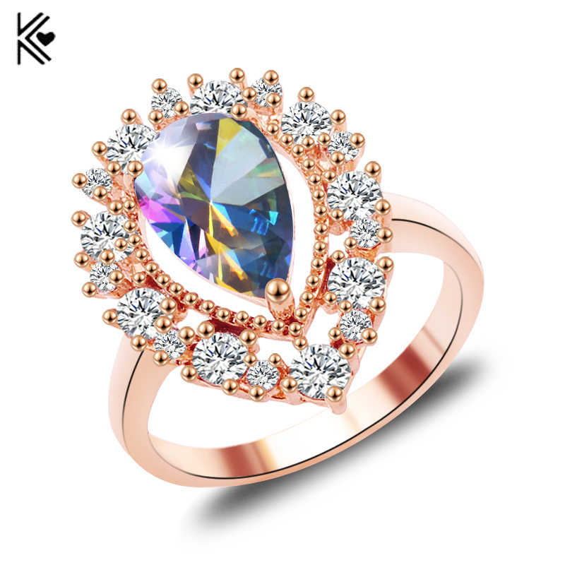 2019 New Mystic Rainbow Fire Opal Rings For Women Lady Rose Gold Filled Wedding Party Engagement Love Ring Anel Valentine's Day