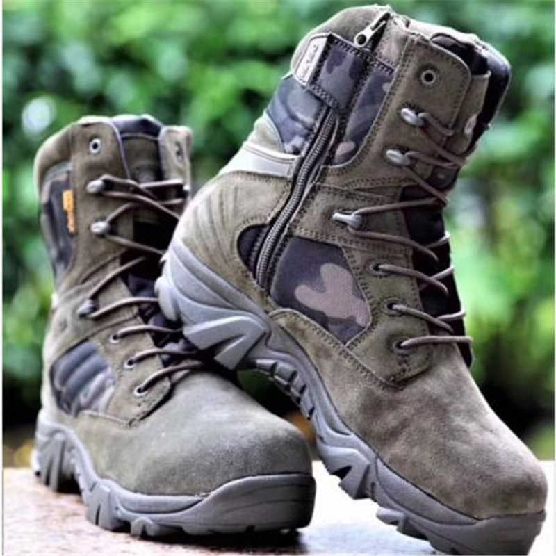 New Green Camouflage Hiking Shoes Professional Outdoor Tactical Boots Camping Climbing Rubber Sole Leather Men Sneakers