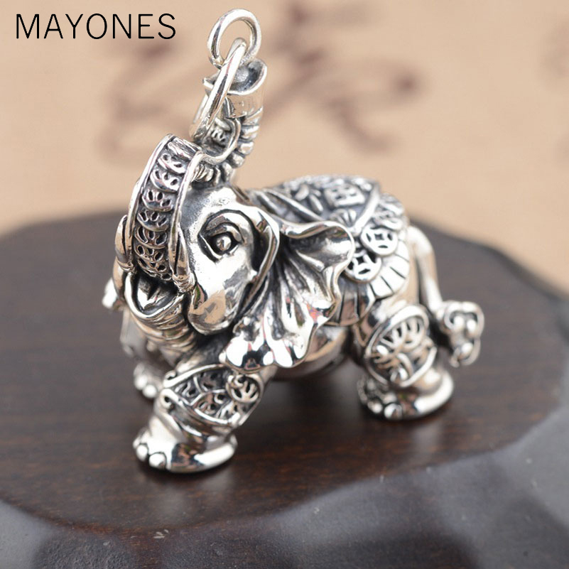 Real 925 Silver Elephant Pendant Good Luck Coins 100% Pure S925 Solid Thai Silver Pendants for Women Men Jewelry MakingReal 925 Silver Elephant Pendant Good Luck Coins 100% Pure S925 Solid Thai Silver Pendants for Women Men Jewelry Making