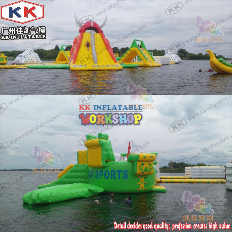 Green Yellow Red Inflatable Water Park Combination Closed Air Inflatable Water Games