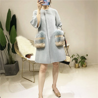 Корейский стиль Шерстяное пальто Для женщин с натуральным лисьим мехом карман осень зима женский пиджак длинные шерстяные пальто
