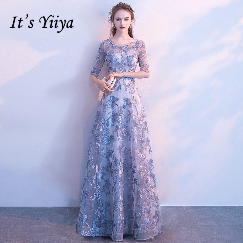 It's YiiYa   Evening     Dress   Embroidery Print Flowers Gray Party   Dresses   O-neck Half Sleeve Floor -length Formal Gown E039