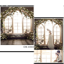 Window  flower arch Vinyl Photography Background Brick Ground Oxford Backdrop For Wedding photo studio Props CM6560 цены