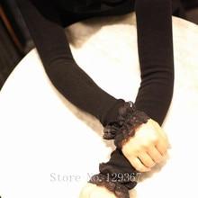 Женские осенние и зимние длинные Вязаные кружевные перчатки женские плотные теплые длинные перчатки сексуальные перчатки без пальцев рукава