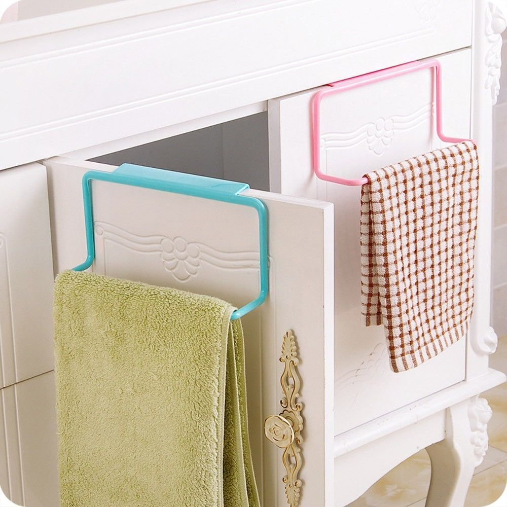 Us 1 11 23 Off 1pc Candy Colors Over Door Tea Towel Holder Rack Rail Cupboard Hanger Bar Hook Bathroom Kitchen Top Home Organization In Storage