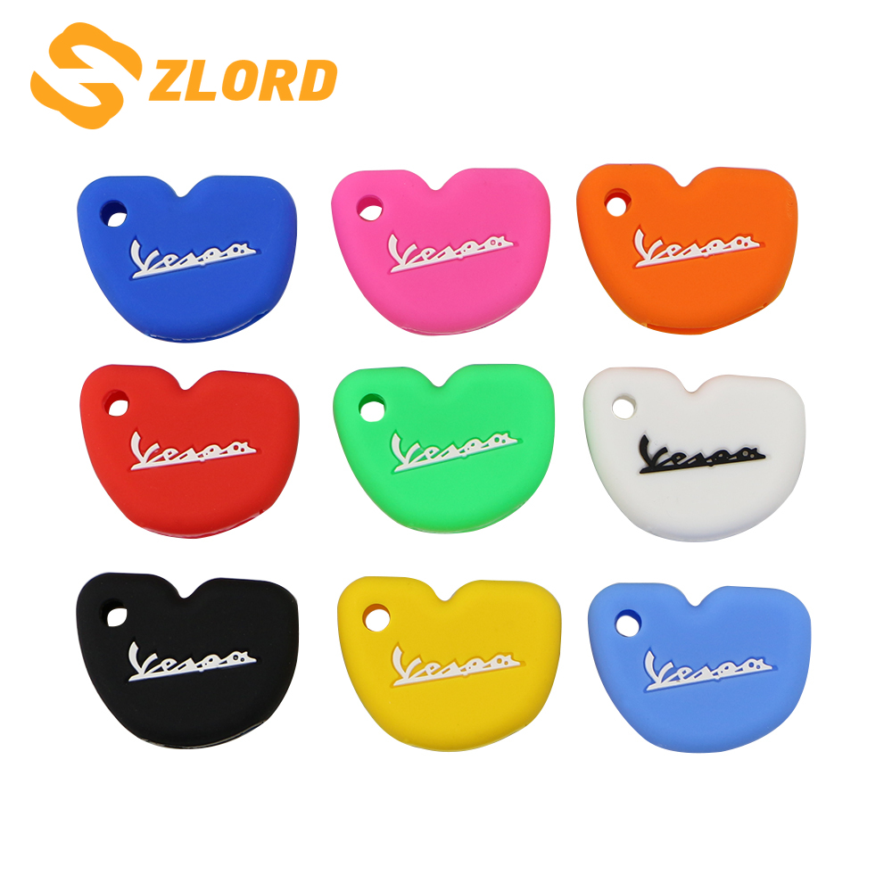 Zlord Silicone Car Key Case Protection Cover Cases Fit For Vespa Enrico Piaggio GTS300 LX150 Fly 125 3vte Gts 200 Motorcycle Key