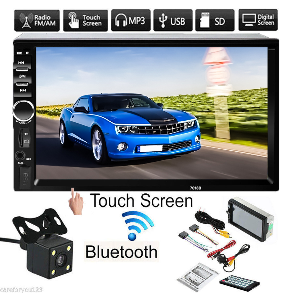Kroak 7'' inch LCD Touch Screen Car Radio Player Bluetooth Hands Free 2Din MP5 MP3 FM AUX with Car Rear View Camera new 7 inch 2din bluetooth car radio video mp5 player auto radio fm 18 channel hd 1080p in dash remote control rear view camera