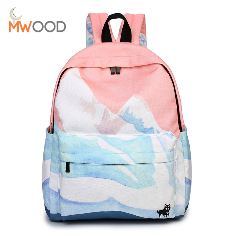 Moon Wood Landscape Printing Backpack Canvas School Travel Shoulder Bags Girls High Quality Candy Color Leisure Laptop Back Pack