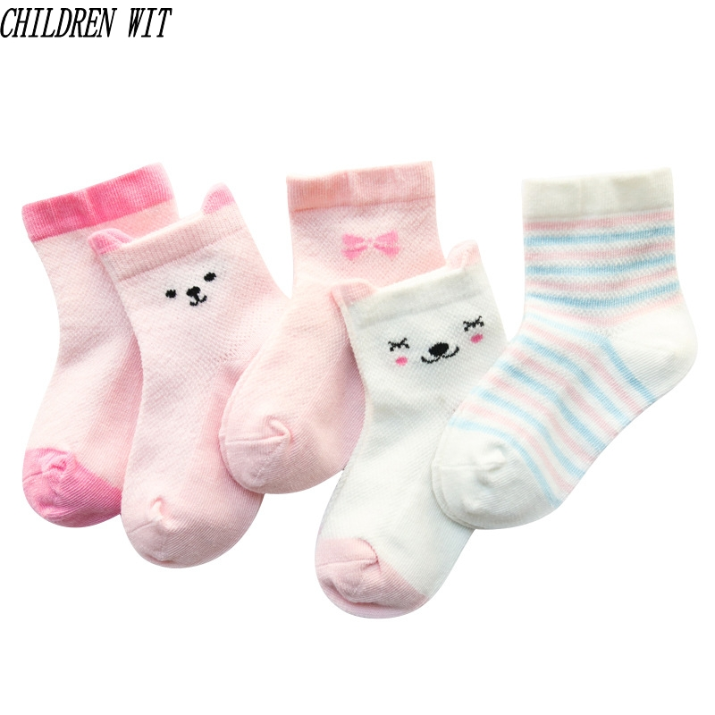 5 Pairs Baby Socks Spring&Summer Cotton 4 Kind Cartoon Cute Patterns Mesh Lace Socks 0- 5 Year Boys Girls Children Socks