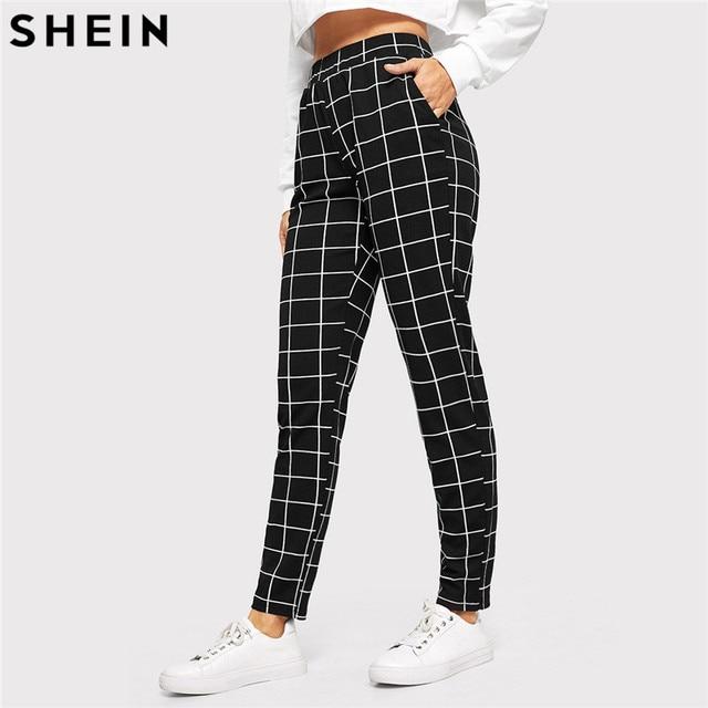 SHEIN Black Plaid Mid Waist Skinny Carrot Trousers Autumn Women Casual Slim Fit Vertical Women Pencil Streetwear Pants