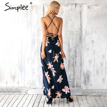 Simplee Boho deep v neck backless sexy dress Split cross lace up chiffon summer beach long dress Sleeveless maxi dress vestidos 1