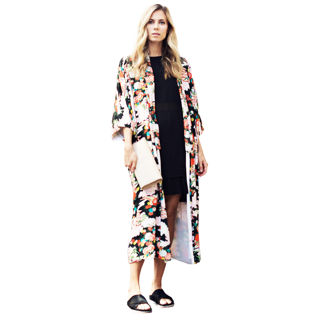 4213e82187d77 Women Vintage Floral Chiffon Kimono Cardigan Bikini Cover Up Floral Boho  Long Loose Casual Beach Robe