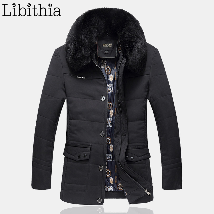 Men Cotton Down Parka Coat With Detachable Fur Collar Long Style Thick Jacket Male Winter Loose Type Plus Size L-6XL Green K98