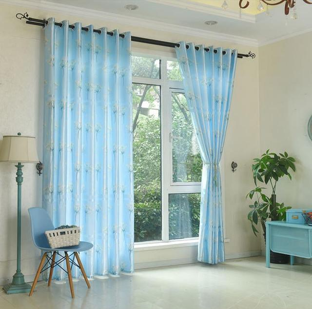 Long French Windows 2 7 Meters High Dandelion Curtain Finished Half Shading Light Blue Bedroom Products