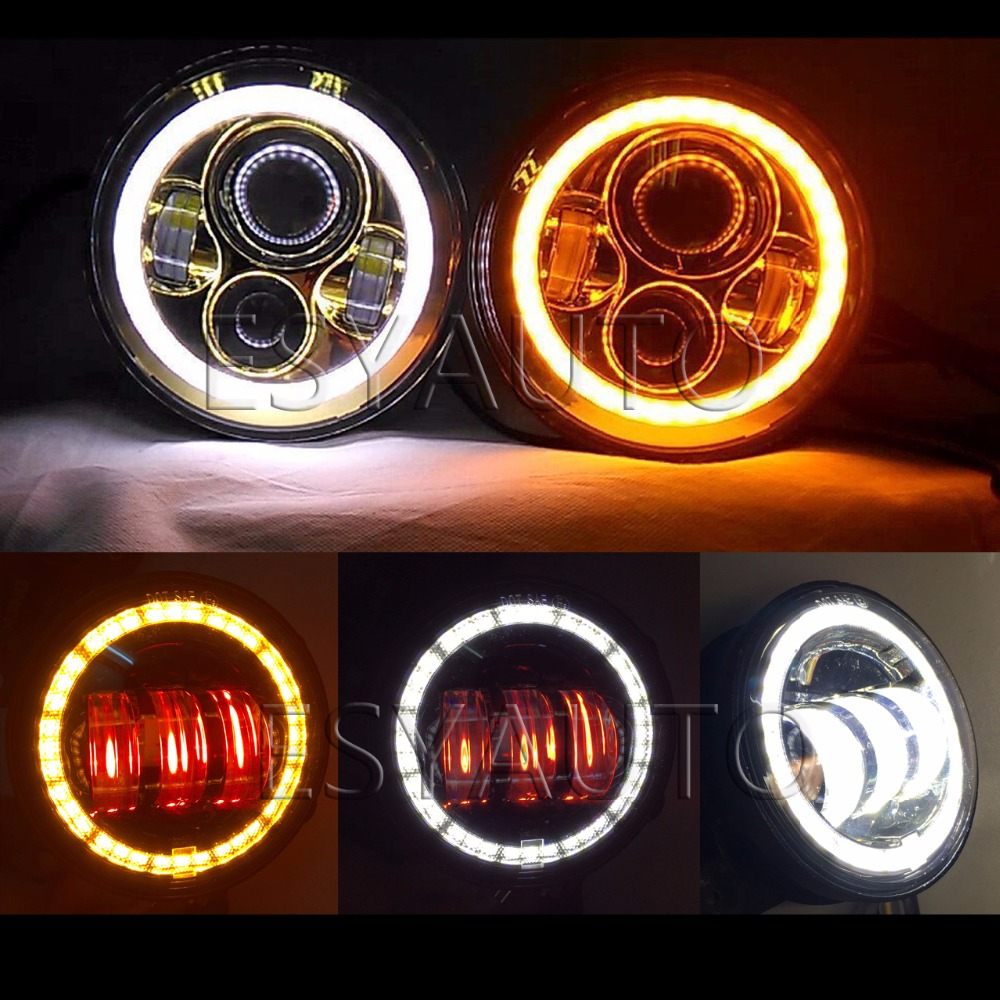 7 Round LED Headlamp Amber Turn Signal and 4inch amber turn signal led fog light Off road Led Headlight For Jeep Wrangler JK