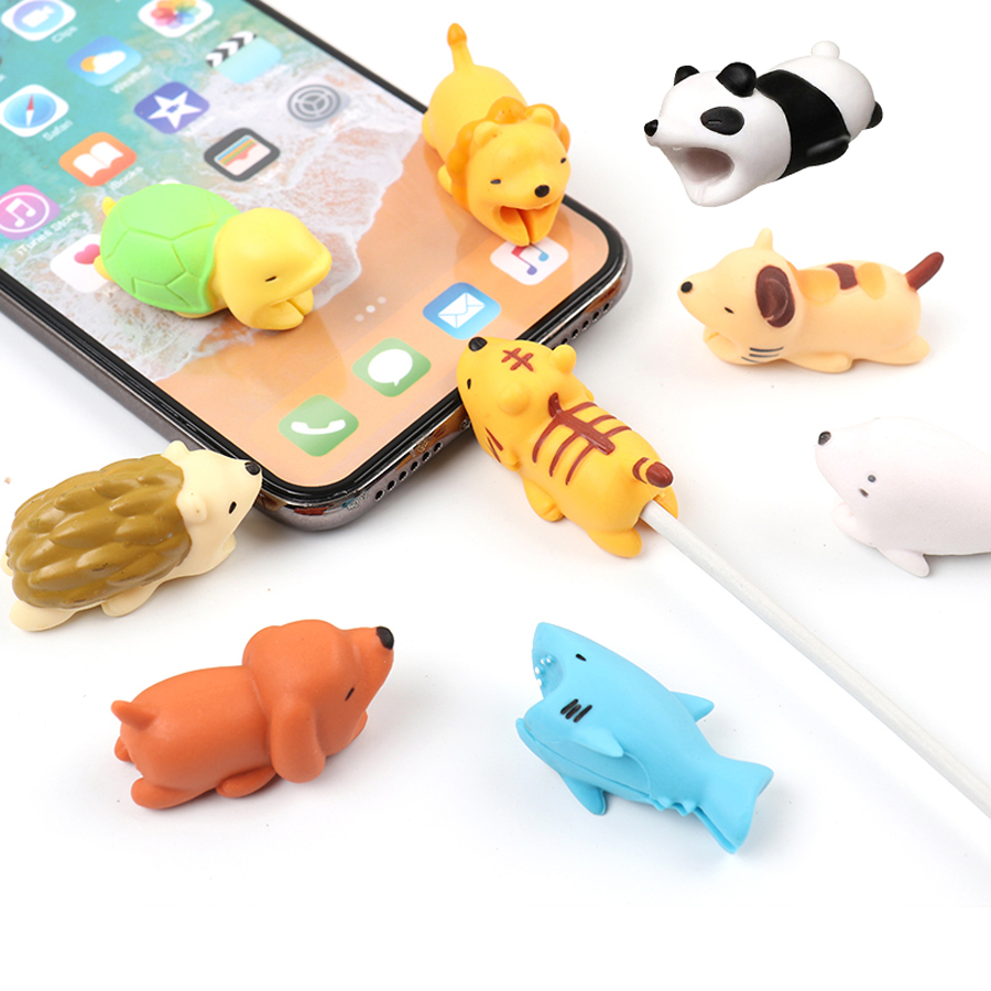 Kabel Tier Schwein Bites <font><b>USB</b></font> Ladegerät Datenkabel Kabel Protector für <font><b>iPhone</b></font> XS MAX 10 8 <font><b>6</b></font> 7 Plus 5 5 S X XR <font><b>USB</b></font> Kabel Cartoon Minions image