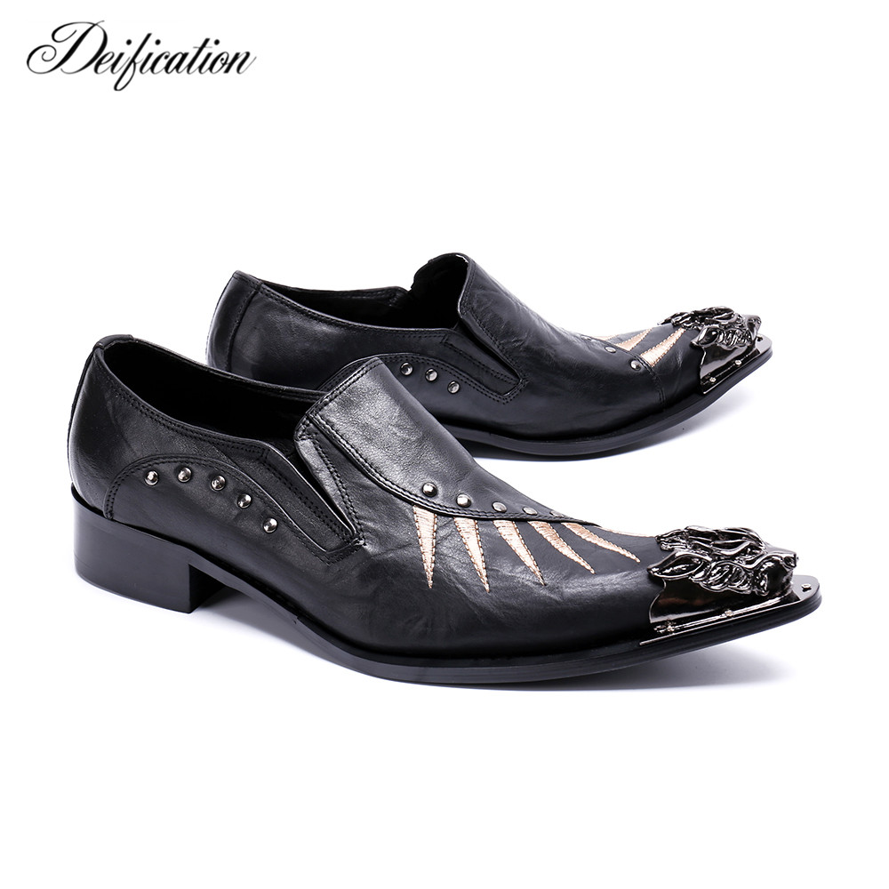Black Metal Decor Men Genuine Leather Oxfords Slip On Embroidery Mens Wedding Dress Shoes Pointy Toe Business Leather Shoe Flats