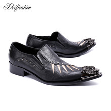Black Metal Decor Men Genuine Leather Oxfords Slip On Embroidery Mens Wedding Dress Shoes Pointy Toe Business Leather Shoe Flats цена 2017