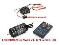 Щеточный электронный регулятор скорости Hobbywing EzRun Max8 v3 T/штекер TRX Водонепроницаемый бесщеточный ESC + 4274 2200KV двигатель + светодиодный программ