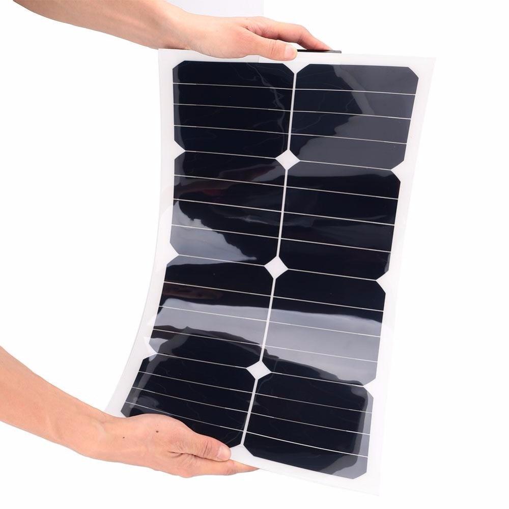 18V 25W Solar Power Panel Flexible Boat Car Vehicle Auto Solar Energy Battery Panel For Outdoor Activity  535*280*25mm 100w 12v monocrystalline solar panel for 12v battery rv boat car home solar power