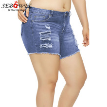 все цены на SEBOWEL 2019 Summer Woman Distressed Frayed Denim Shorts Light Blue Casual Ladies Raw Hem Cuffs Ripped Jeans Shorts Size S-XL онлайн