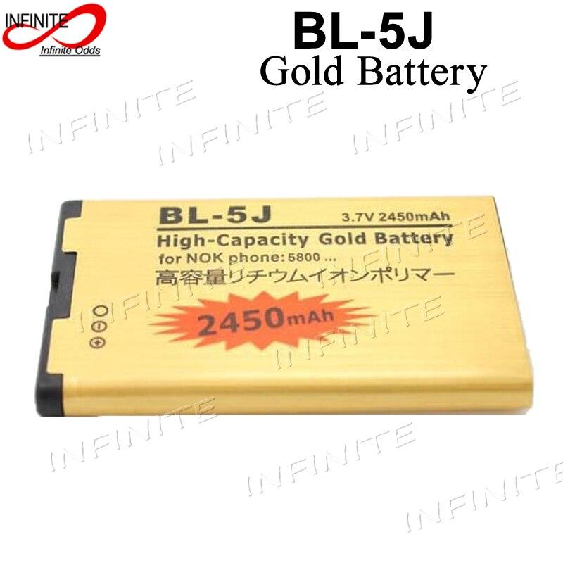 eefb54ed716 2450 mAh BL-5J BL 5J de alta capacidad del oro de la batería de negocios para  Nokia 5230X6X1 C3 5800 N900 batería, pila AKKU ACCU