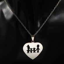 Stainless Steel Love Heart Necklaces with Family Pendant