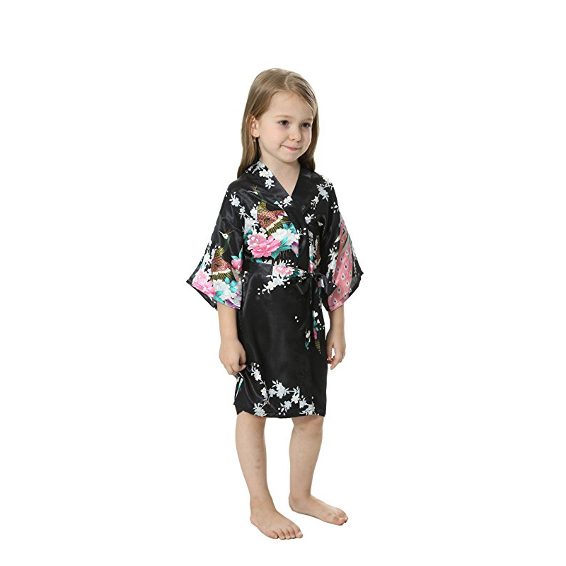 50905a4877 Peacock Kids Robe Satin Children Kimono Robes Bridesmaid Flower Girl Dress  Silk children s bathrobe Nightgown Kimono robe