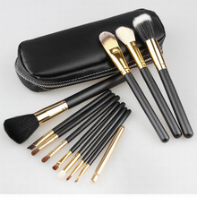 2017 Professional 1Set/lot New 100% new Cosmetic Gold Makeup Brushes Set Make up Tool Dres + 2 Case Bag Kit, Free shipping