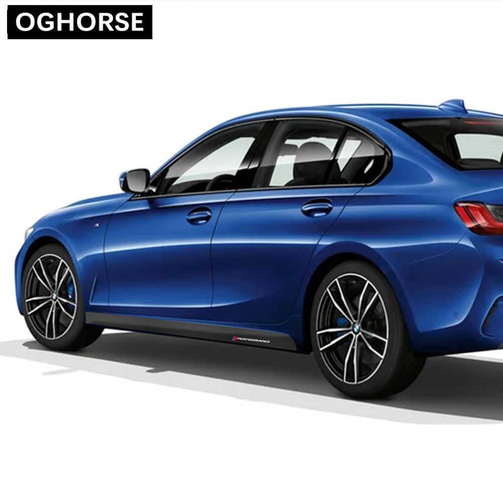 Estilismo para automóviles 2 uds., pegatina para umbral adhesivos gráficos de falda de rayas laterales para rendimiento M, accesorios para BMW 3 Series 2019- G20
