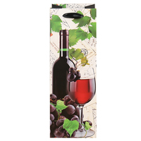 Paper Wine Bags 12pcs 12x8x35cm Paper Package Oliver Oil Champagne Bottle Carrier Laminated Christmas Gift Wine Holder