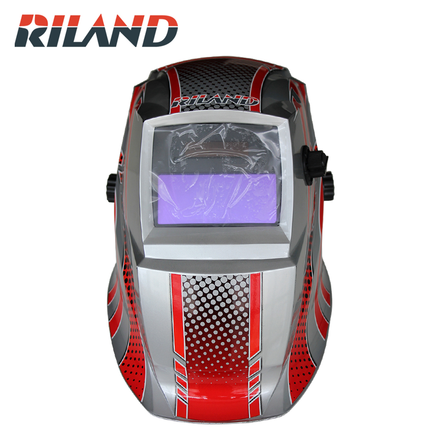 RILAND Welding Mask Hood Solar Automatic Welding Helmet (Solar Power for Recharge) Face Protection Mask Cap newest welding glass anti collision version welding eye protection glass welding helmet pc welding mask