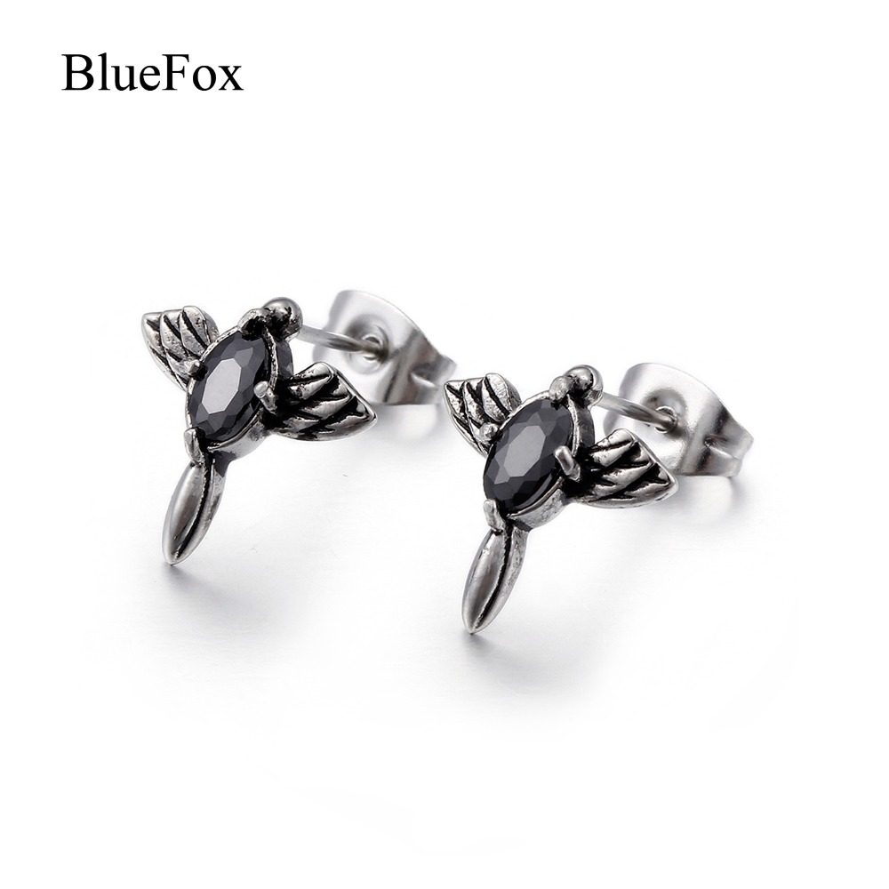Chic Charms Vintage Cross Wings Zircon Punk Men Stud Earrings 316L Titanium Stainless Steel Fashion Jewelry Men Earrings Gift