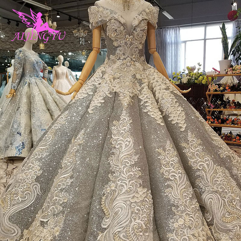 AIJINGYU Wedding Dresses Shenzhen Sexy Gowns For Sale Online Newest Websites Split Bridal Designers Sparkly Sequins Dress image