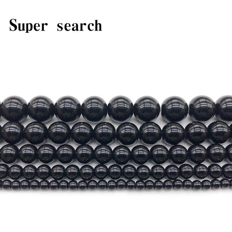 Pick size 4 6 8 10 12 14mm Smooth Round Black Agata Onyx loose stone jewelry Beads Free Shipping