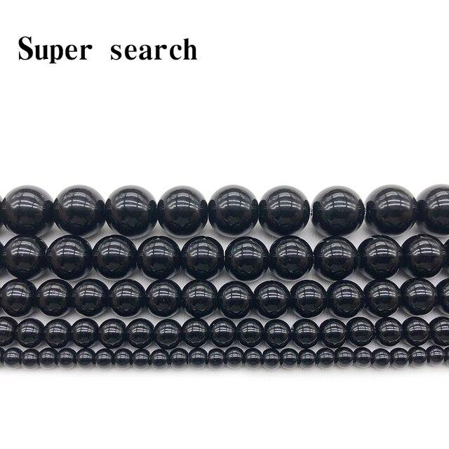 Wybierz rozmiar 4 6 8 10 12 14mm gładki okrągły czarny Agata Onyx luźna biżuteria z kamienia koraliki darmowa wysyłka