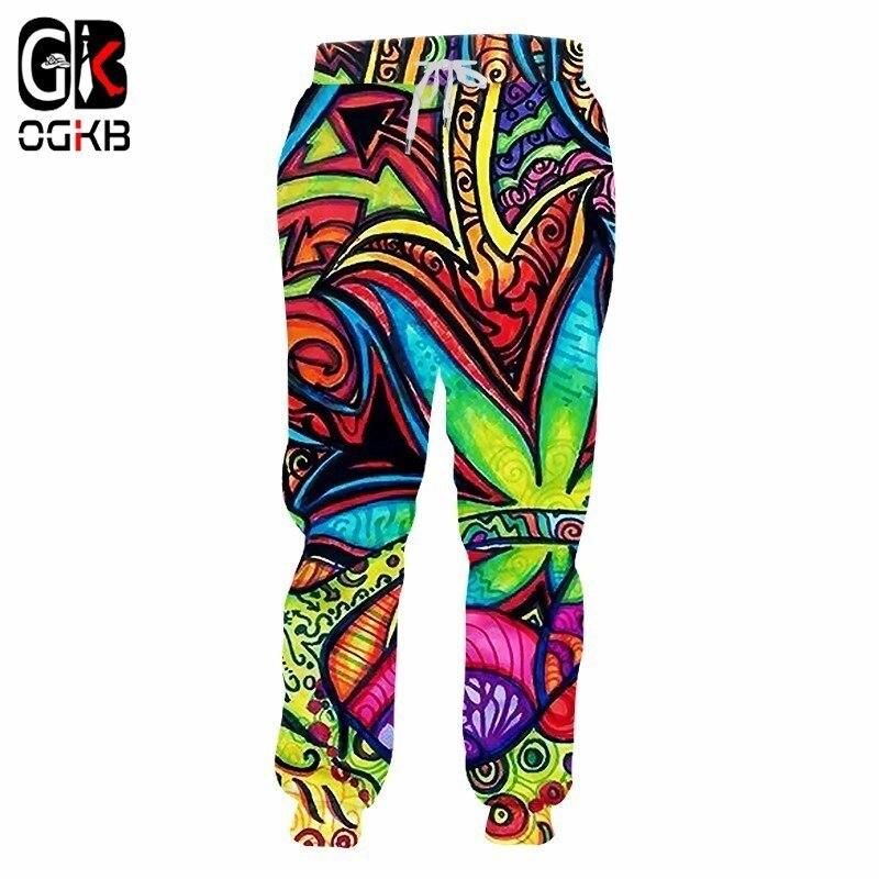 OGKB Jogger Pants Homme Hot Loose 3D Sweatpants Printed Oil Painting Leaves Hip Hop Plus Size 5XL Harem Pants Man Winter Spring