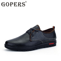 GOPERS Big Size Men Shoes Fashion Black Men Casual Shoes Genuine Leather Male Casual Shoes Luxury