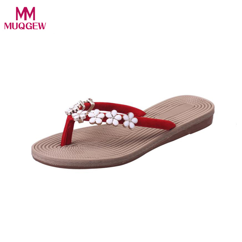 Women Summer Shoes Flip Flops Fashion Solid Color Flower Flip Flops Sandals Slipper Beach shoes Ladies Outdoor Slipper Shoes 2017 women sandals shoes sapato feminino bownot wedge flip flops fashion beach women slipper shoes bohemia women s shoes flower